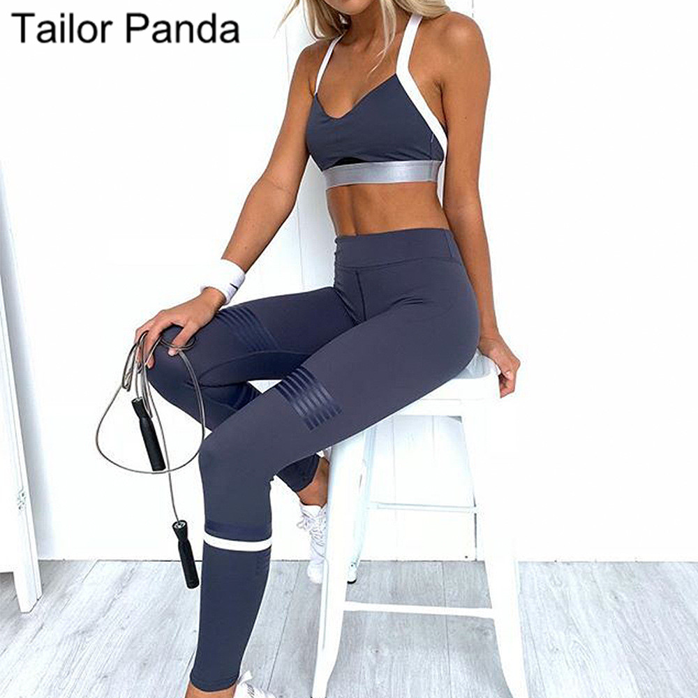 2 Pieces Yoga Set Workout Clothes For Women Fitness Jumpsuit Sport Wear Women Set Gym Clothes Navy Blue Vests And Leggings