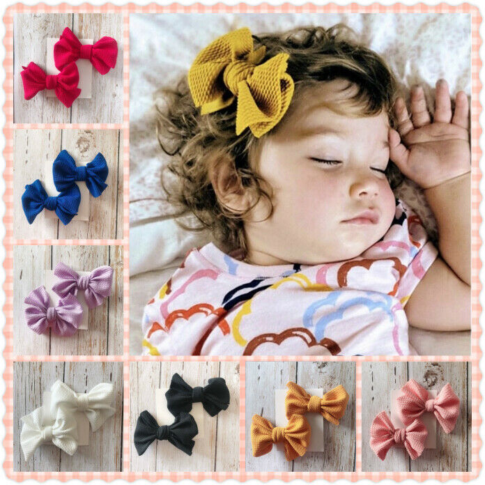 2Pcs Infant Kids Baby Girls Hair Pin Bow Clips Headwear Ribbon Bowknot Barrettes Baby Headwear