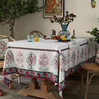 Peach pomegranate white floral wedding linen table cloth rectangular table cover