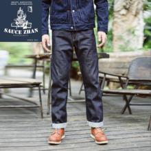 Saucezhan 316XX Kasual Selvedge Jeans RAW Denim Yang Tidak Dicuci Selvage Denim Jeans Lurus Mens Jeans(China)