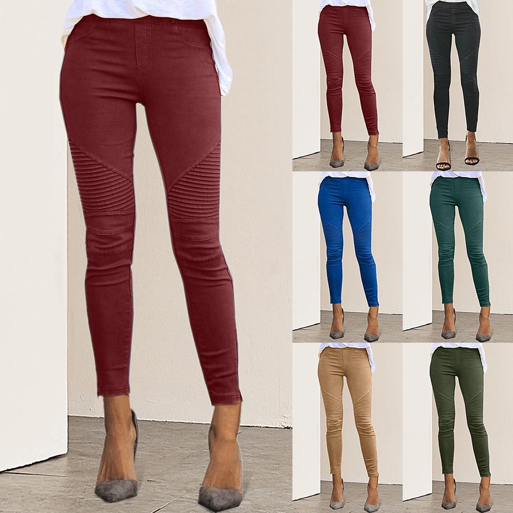 Women High Waist Trousers Slim Fit Slim Pants 2019 Autumn Sexy Female Women's Fashion Casual Joggers Elastic Pants Femme Pant