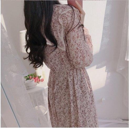 H8b5157b760f540b68db8eb97ff1327462 - Autumn Puritan Collar Long Sleeves Chiffon Floral Print Lace-Up Slim Midi Dress