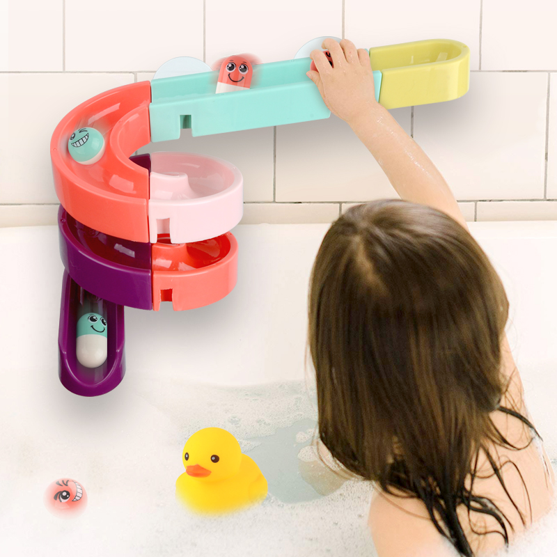 DIY Baby Bath Toys Wall Suction Cup Marble Race Run Track Bathroom Bathtub Kids Play Water Games Toy Set for Children