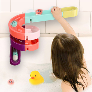 DIY Baby Bath Toys Wall Suction Cup Marble Race Run Track Bathroom Bathtub Kids Play Water Games Toy Set for Children(China)