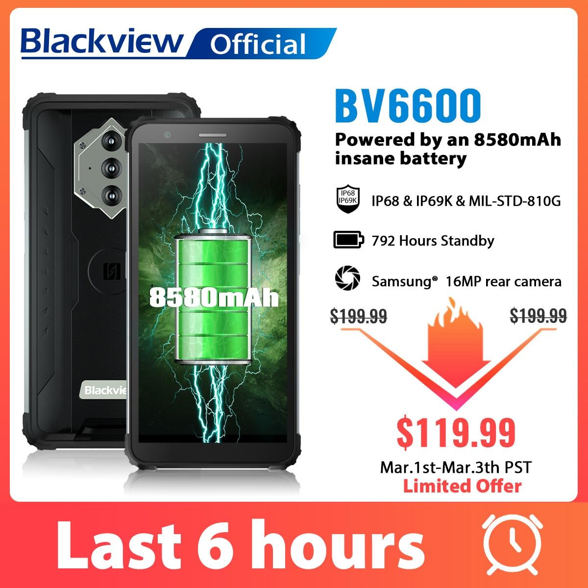 Blackview BV6600 IP68 su geçirmez 8580mAh güçlendirilmiş akıllı telefon Octa çekirdek 4GB + 64GB 5.7