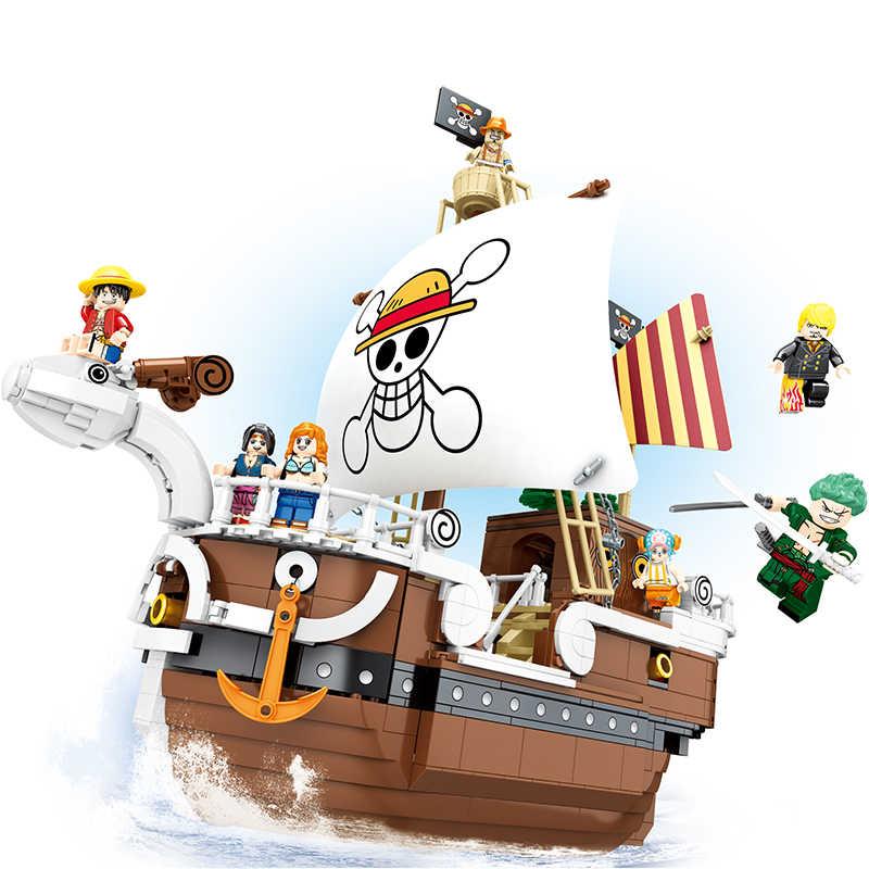 1484 sztuk jeden sztuk łodzie Thousand Sunny Pirate statki Luffy bloki Model Techinc pomysł figurki klocki zabawki dla dzieci prezenty