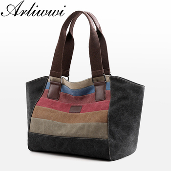 Arliwwi Large Capacity Woman Canvas Tote Bags Big Colorful Patched Female Fashion Individual Shoulder Trapeze Handbag New F004