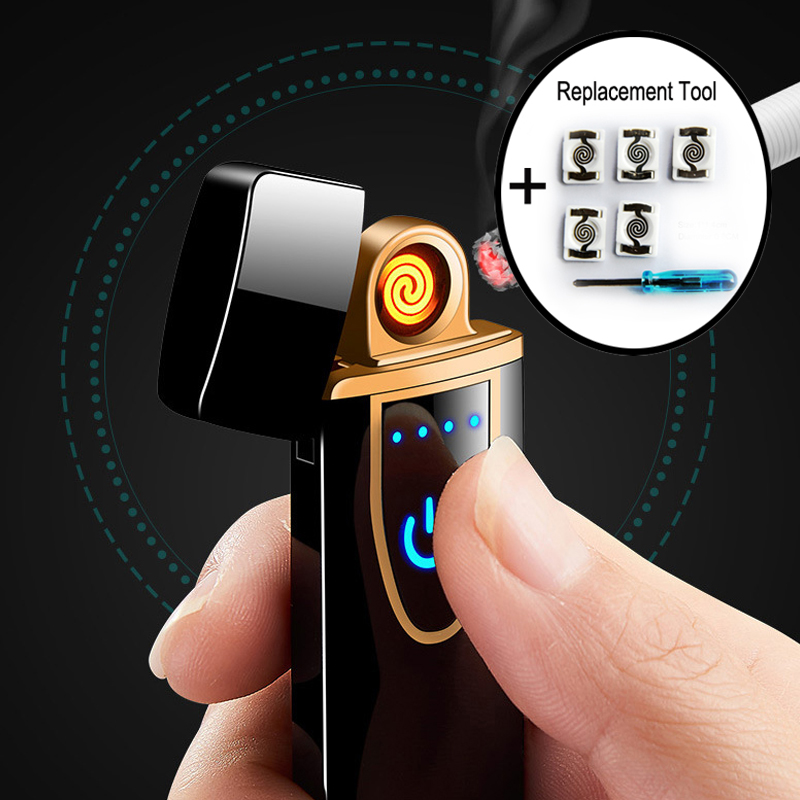 Charging Electronic Cigarette Ligher USB Mini Car Electric Rechargeable Lighters Windproof Touch Sensor Gifts For Men Gadgets