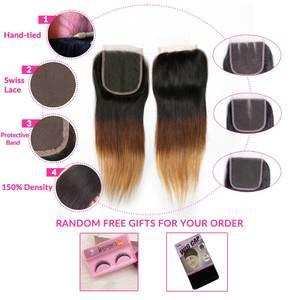 Image 5 - Ombre pacotes de cabelo reto com fechamento remy feixes de cabelo humano com fechamento do laço ombre cabelo peruano 3 pacotes com fechamento