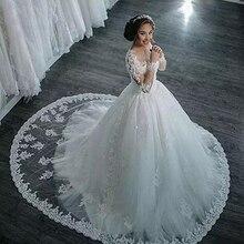 Robe De mariée magnifique princesse, robe De mariée, manches longues, applications, robe De mariée, pays, à perles, 2020