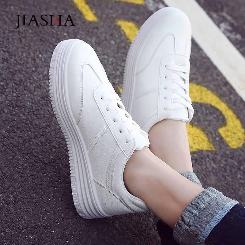 Sepatu Kets Putih Wanita Sepatu Basket Femme PU Kulit Wanita Flat Sepatu Wanita Creepers Lace-Up Wanita Sneakers