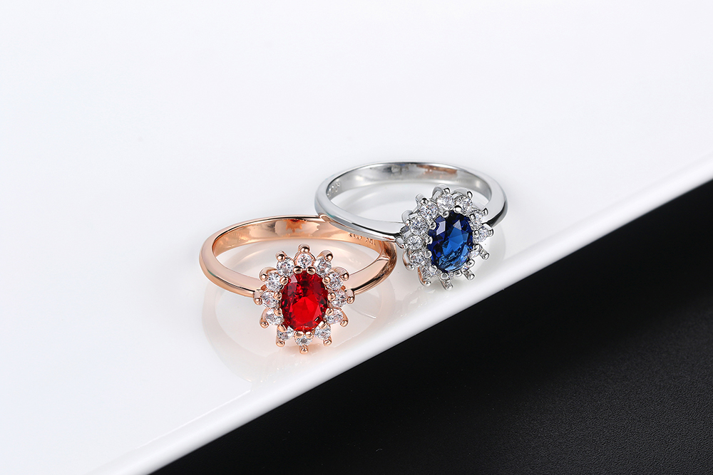 Double Fair Royal Classic Wedding Big Rings For Women Blue & Red Crystal Rose White Gold Color Engagement Fashion Jewelry DFR076
