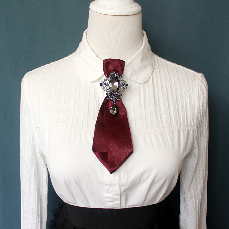 Elegant Adult Women Men Shirt Bow Tie Cravat Vintage Rhinestone Crystal Brooch Pin Necktie Groom Work Wedding Party Gift Bowtie