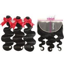 FDX 13х6 13х4 волнистые пряди с фронтальной бразильской волной, натуральные кудрявые пучки волос пряди с закрытием Remy, кружевные передние пряди