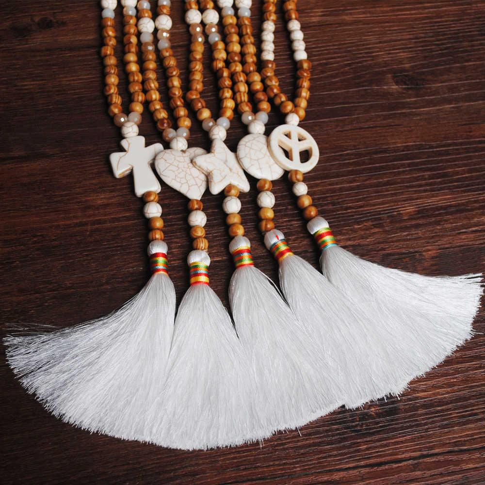Yumfeel akcesoria mody naszyjnik biżuteria Maxi naturalna gwiazda serce kamień koraliki drewniane naszyjniki i wisiorki kobiety biały Tassel