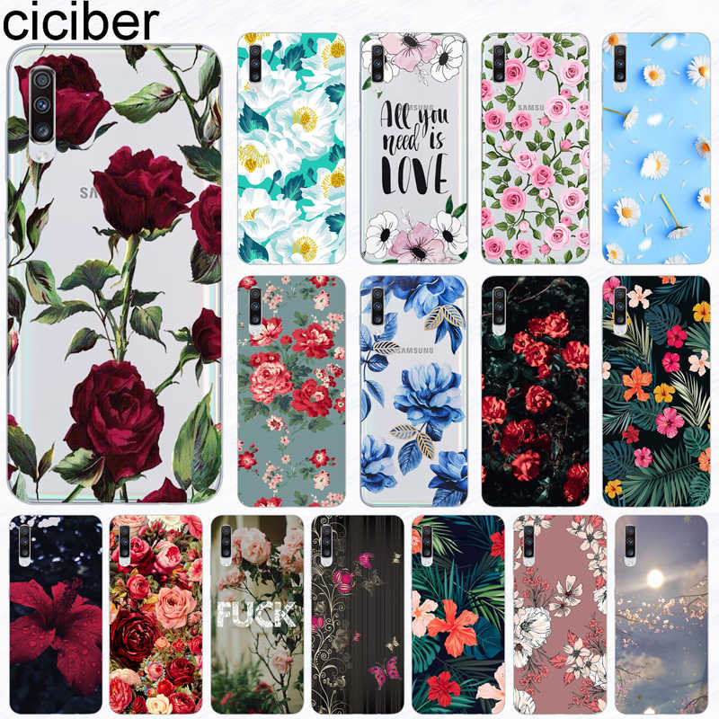 ciciber Phone Case for Samsung Galaxy A50 A70 A80 A40 A30 A20 A60 A10 A20e Soft Silicone TPU Flower Rose Vintage Cover Fundas