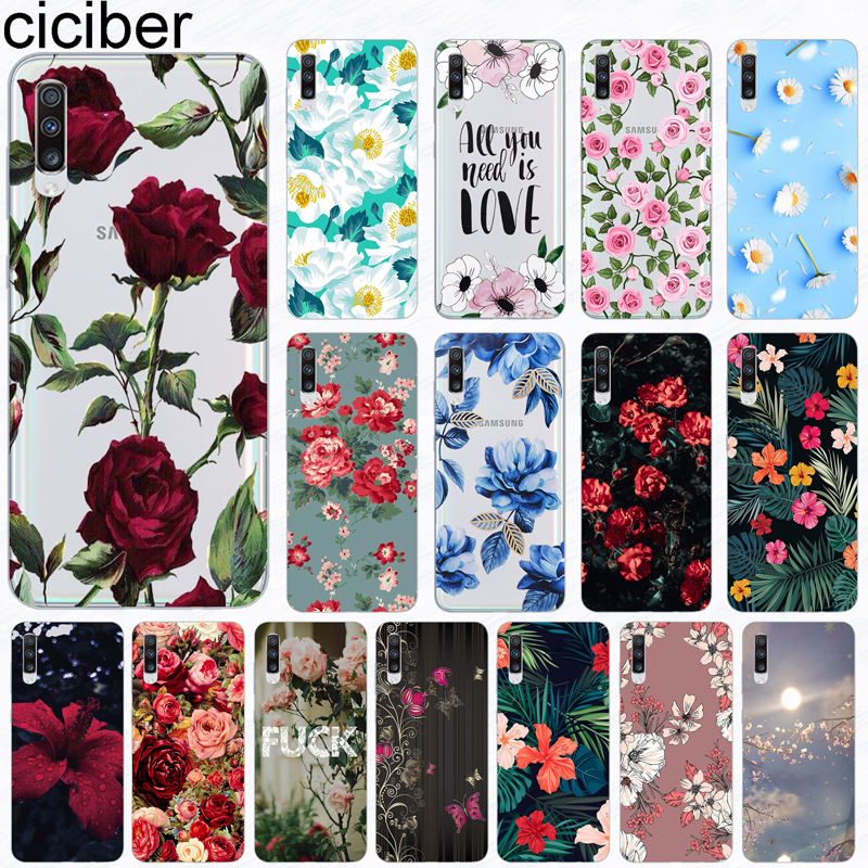 ciciber Phone Case for <font><b>Samsung</b></font> <font><b>Galaxy</b></font> A50 A70 A80 A40 A30 <font><b>A20</b></font> A60 A10 A20e Soft Silicone TPU Flower Rose Vintage Cover Fundas image
