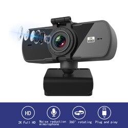 Webcam HD 2K à mise au point fixe, Microphone intégré, appel vidéo, caméra rotative, périphériques d'ordinateur, caméra Web pour ordinateur portable, livraison directe