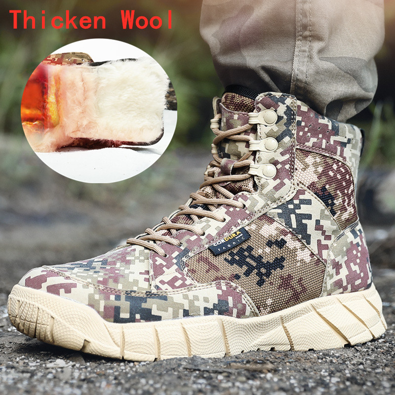 Winter Warm Fleece Wool Shoes Desert Camo Training Army Boots Men Outdoor Hiking Hunt Climbing Non slip Wearproof Tactical Boots|Hiking Shoes|   - title=