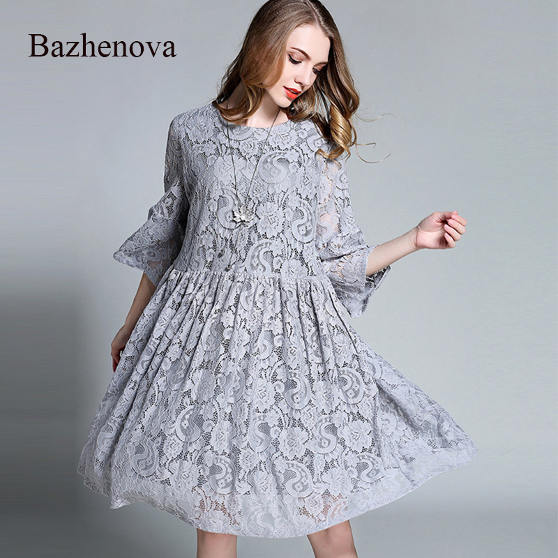 Bazhenova 2019 automne femmes dentelle robe femme lâche Flare manches Sexy robe filles all-match grande taille Polyester robe dames R102