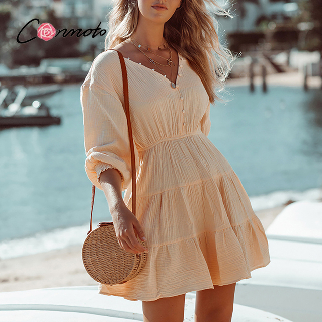 Conmoto Sexy deep v-neck bubble sleeves dress Elegant button elastic waist woman dress Pure color summer short dress 2021 new 4