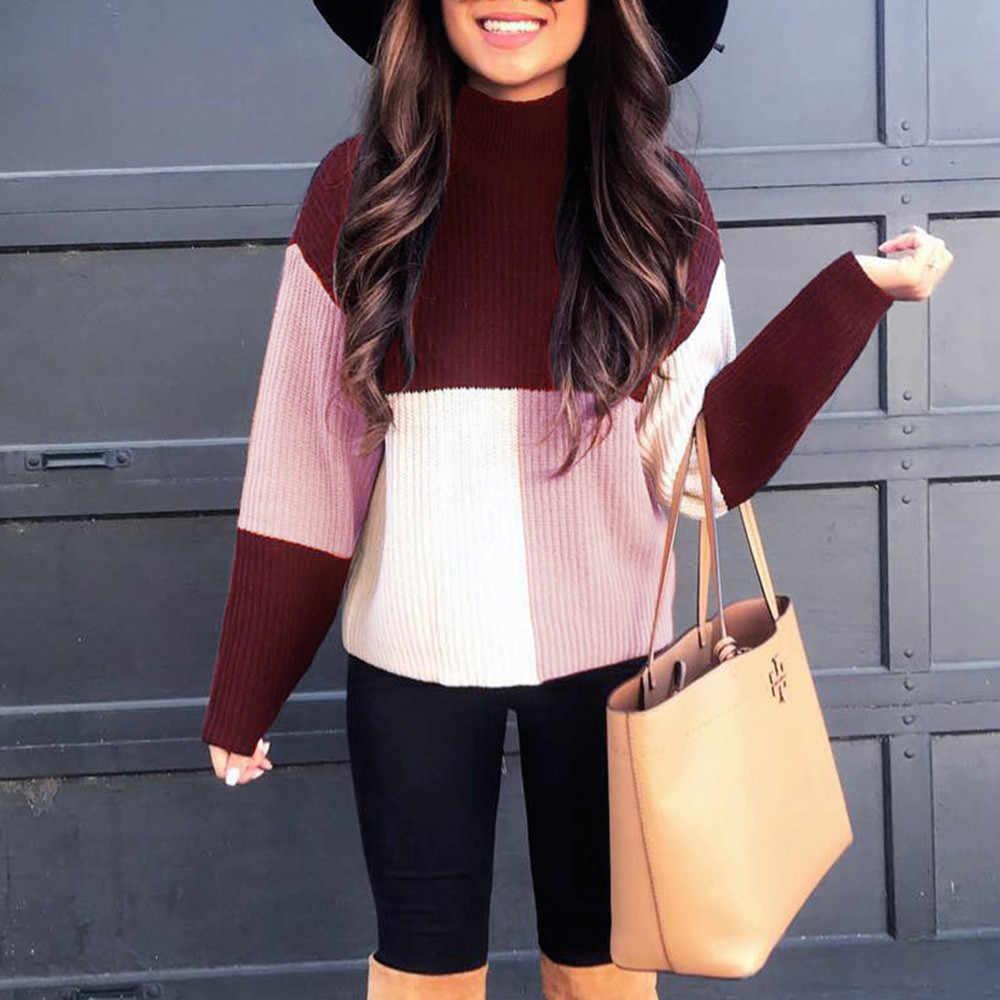 여성 패치 워크 따뜻한 니트 스웨터 풀오버 가을 여러 가지 빛깔의 블록 여성 스웨터 2019 겨울 두꺼운 풀오버 여성 #1011