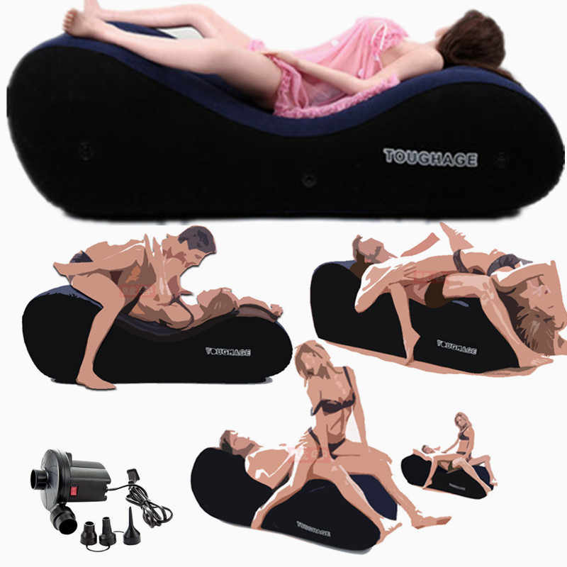 Sexy Inflatable Sofa Tantra Bed Adult Folding Living Room Furniture Tantra Sofa With 4 Handcuffs Soft Velvet Bean Bag Chair