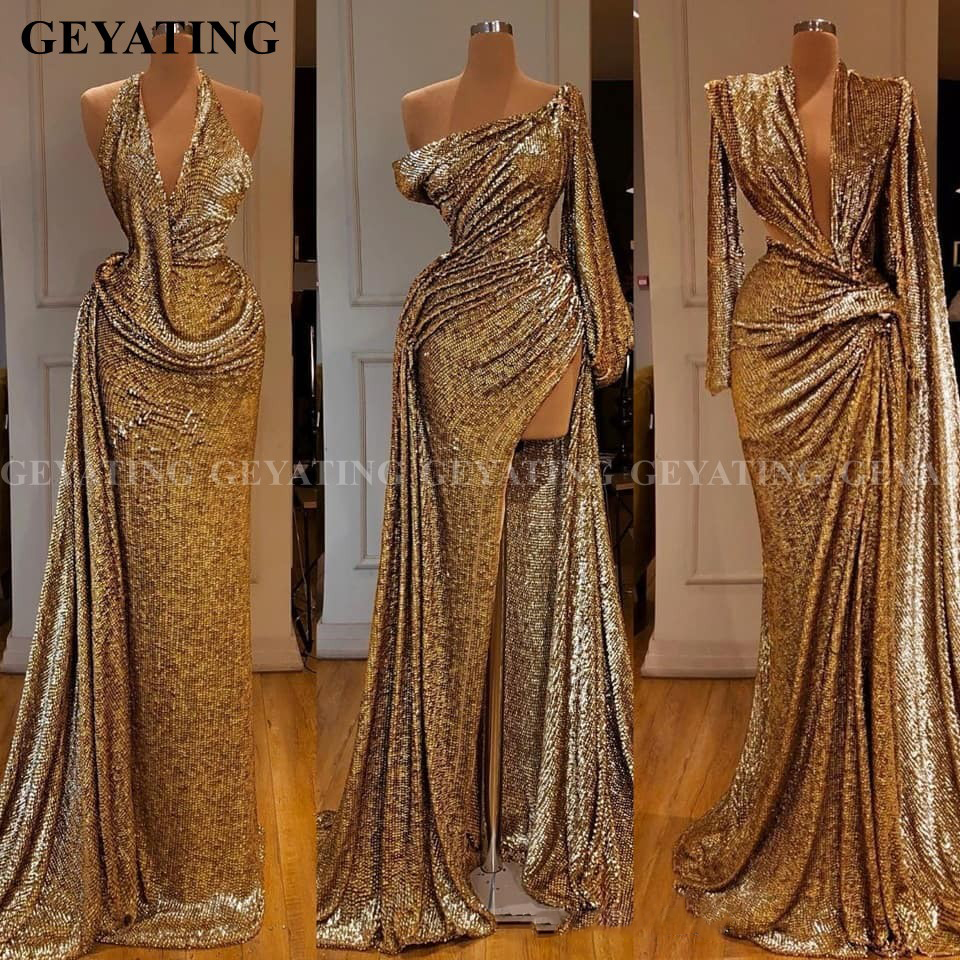 Saudi Arabia Mermaid Gold Sequined Long Sleeves Evening Dress One Shoulder High Split Prom Dresses Long Women Formal Party Gowns