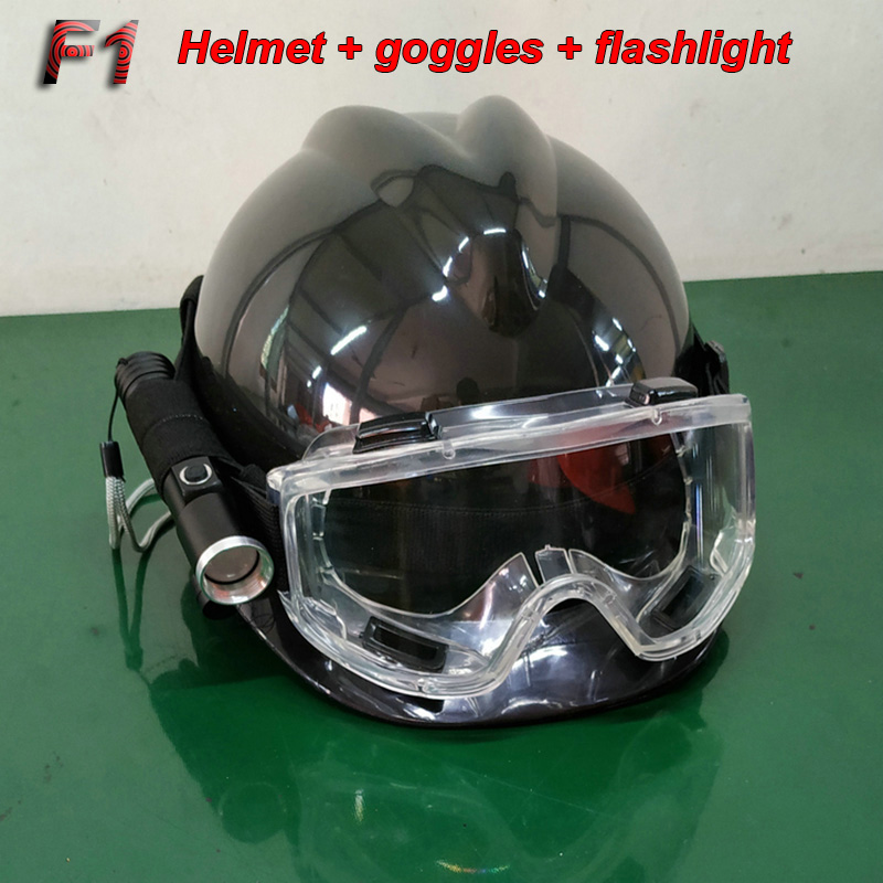 F1 Rescue Helmet + Goggles + Headlight Flashlight Accident Rescue Head Protection Suit Night Rescue Illumination Helmet