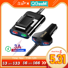 QGEEM için 4 USB araç şarj cihazı iPhone hızlı şarj 3.0 araba taşınabilir şarj çekiç ön arka QC3.0 telefon hızlı şarj araç şarj cihazı