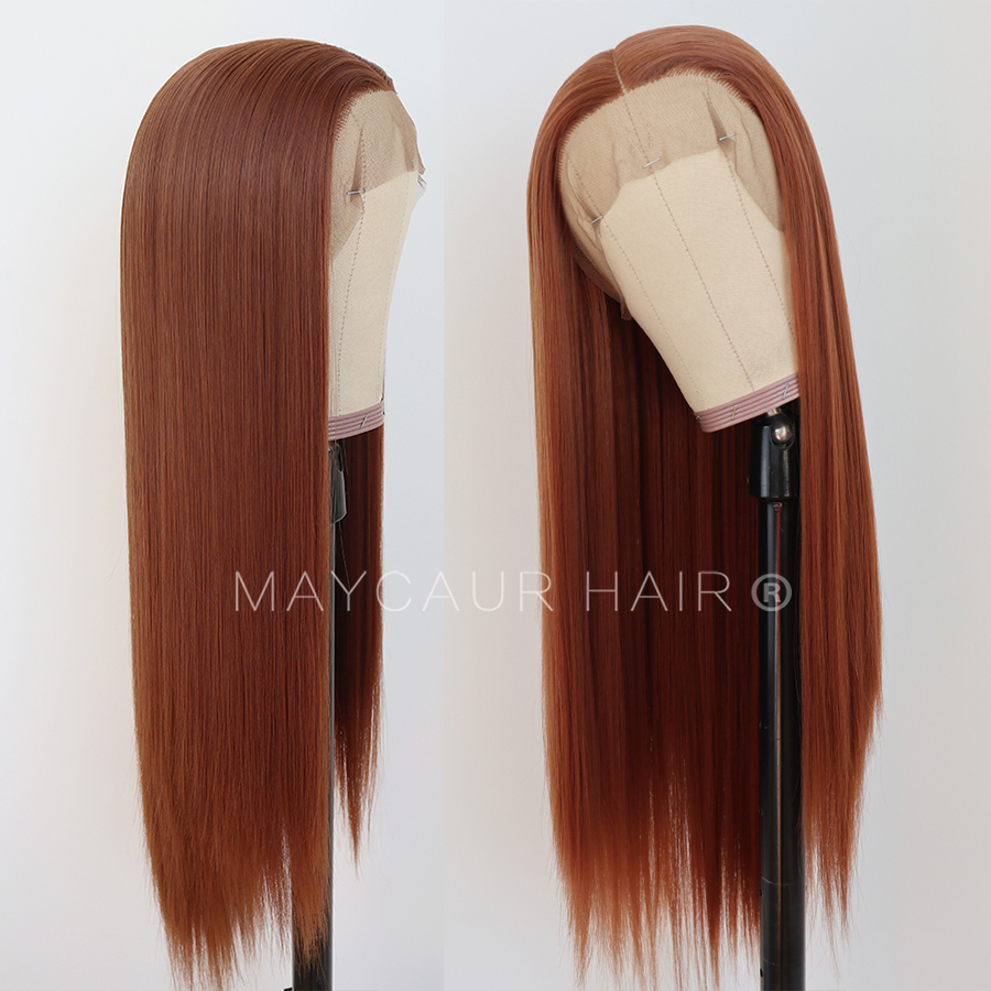 maycaur Synthetic Lace Front Wig Silky Straight 30B Heat Resistant Synthetic Replacement Hair Wigs for Fashion Women (3)