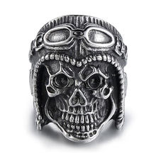 Punk Jewelry Skull Pilot Silver Stainless Steel Men's Ring Unique Christmas Gift Party Glamour Accessories(China)