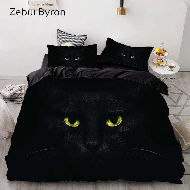 3D Luxury Bedding Set Custom/King/Europe/USA,Duvet Cover Set,Quilt/Blanket Cover Set,Bed Set Animal Black Cat Eyes,drop Ship