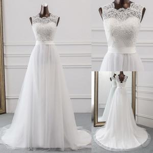 Image 1 - 새로운 Applique 웨딩 드레스 정장 가운 mariage Vestidos 드 Novia 신부 드레스 vestido 드 페스타 비치 웨딩 드레스