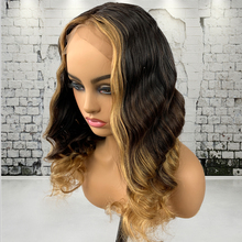 Ombre Colored Highlight Body Wave Lace Front Human Hair Wigs Brazilian Remy Lace Frontal Wig with Baby Hair Pre-plucked