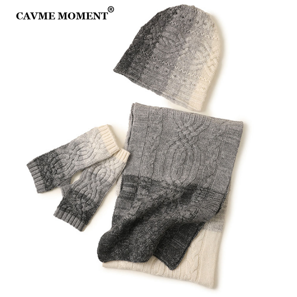 CAVME 100% Cashmere Scarf Hat Glove Sets Unisex Gray Color Gradient Knitted Cashmere Caps Long Scarves Short Gloves Luxury Gift