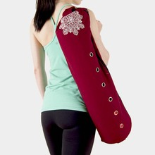 durable canvas cotton yoga mat bag with large zipper opening easy loading free shipping