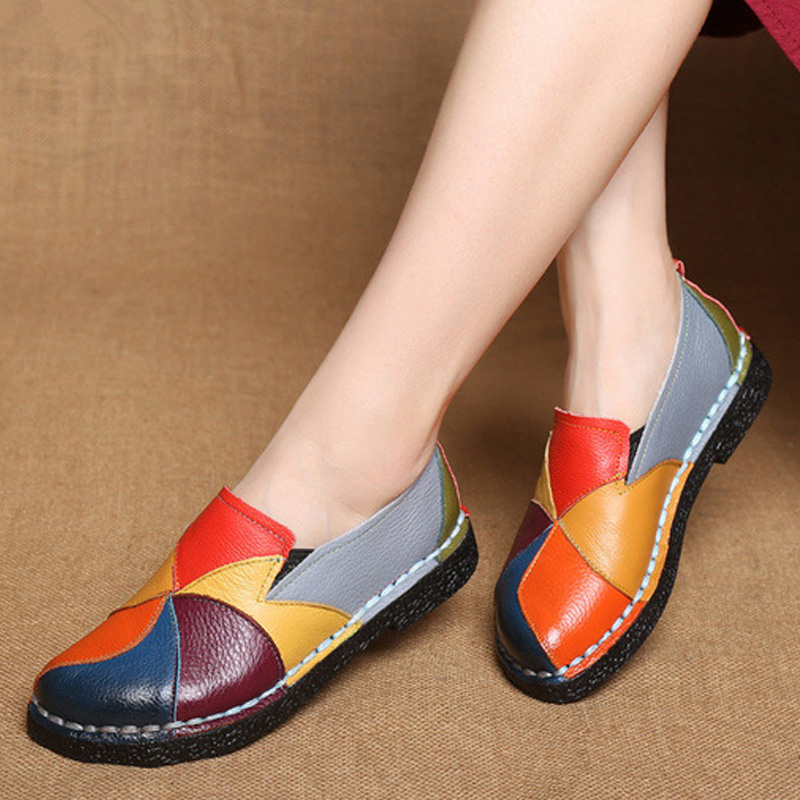 Designer Women Flats Genuine Leather Shoes Women Loafers Slip-On Mixed Color Moccasins Female Shoes Ladies Ballet Flat Plus Size