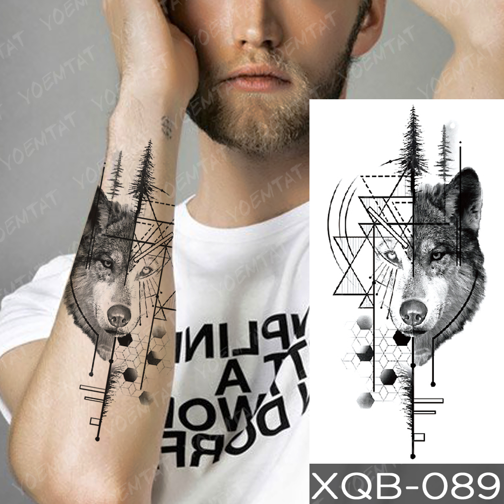 Waterproof Temporary Tattoo Sticker Clock Orange Blue Eyes Wolf Flash Tattoos Lion Compass Body Art Arm Fake Tatoo Women Men 3