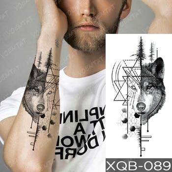 Waterproof Temporary Tattoo Sticker Green Eye Totem Wolf Flash Tattoos Death Lion Crown Body Art Arm Fake Tatoo Women Men 3