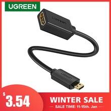 UGREEN Micro HDMI Adapter High Speed Männlichen zu Weiblichen HD 4K 3D für Raspberry Pi 4 GoPro Mini HDMI zu HDMI adapter 22cm HDMI Kabel