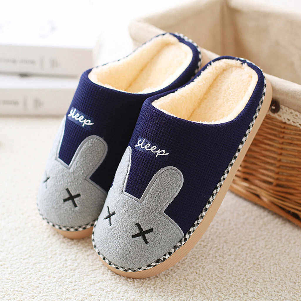 ผู้ชายผู้หญิงฤดูหนาวรองเท้าแตะในร่มรองเท้าคู่น่ารักกระต่ายรองเท้าแตะการ์ตูนอุ่นลื่นในร่มรองเท้า