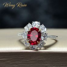 Wong Rain Vintage 100% 925 Sterling Silver Created Moissanite Ruby Gemstone Wedding Engagement Ring Fine Jewelry Gift Wholesale