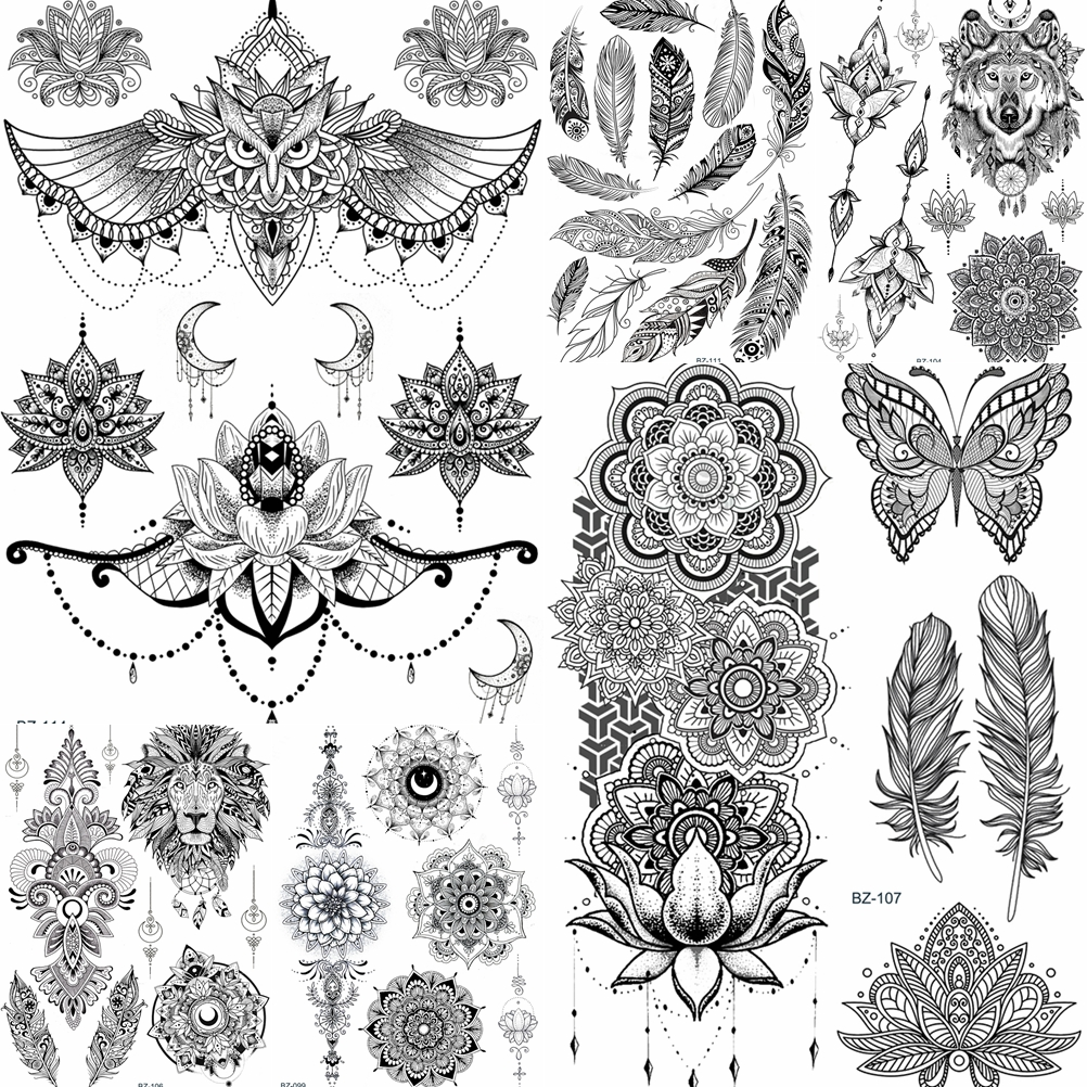 YURAN Women Girl Big Arm Owl Fake Tattoo Temporary Mandala Flower Henna India Tatoo Stickers Custom Black Turtle Tattoos Girls