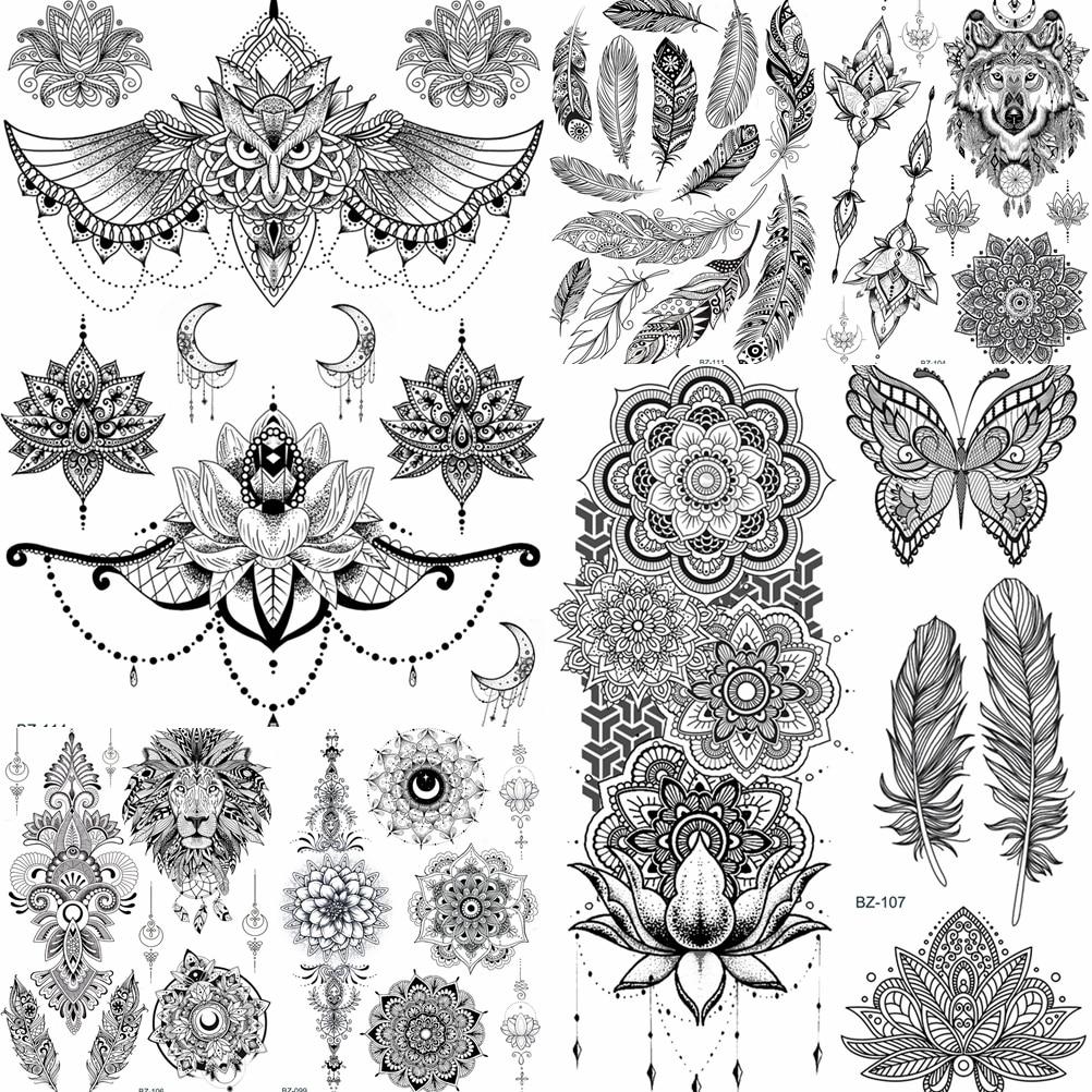 YURAN Women Girl Big Arm Owl Fake Tattoo Temporary Mandala Flower Henna India Tatoo Stickers Custom Black Turtle Tattoos Girls