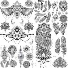 YURAN kobiety dziewczyna wysokie oparcie sowa fałszywy tatuaż tymczasowy Mandala kwiat Henna indie tatuaż naklejki niestandardowe czarny żółw tatuaże dziewczyny tanie tanio 20x15CM