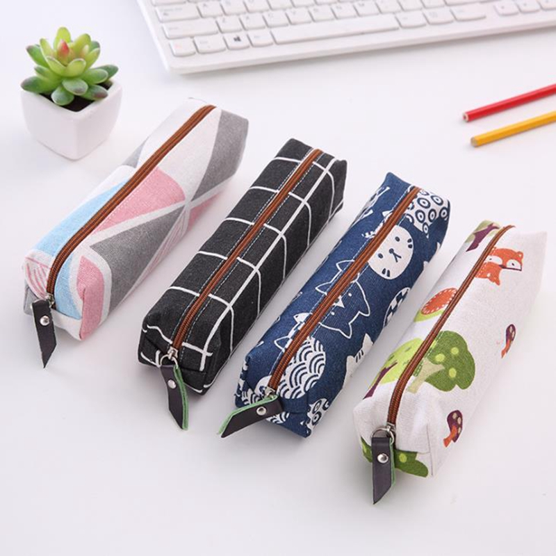 Canvas Geometric Grid Girls Student Pencil Case School Pencil Case For Girl Boy Stationery Pouch Black Pencil Bag Estojo Escolar
