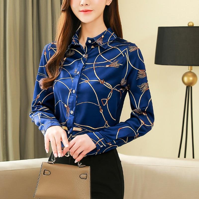 New Silk Shirt Women's Korean 2021 Spring Long Sleeve Shirts for Women Casual Print Women Blouse and Tops Blusas Mujer 8185 50 2