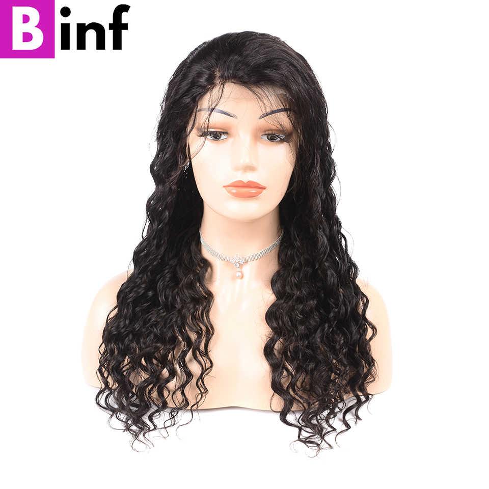 Pelucas frontales de encaje BINF 360 predesplumadas con pelo de bebé pelucas de cabello humano Frontal de encaje de onda profunda de densidad 150% cabello peruano no Remy