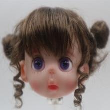 Perruque mini poupée 8 BJD, style mignon, couleur or, marron